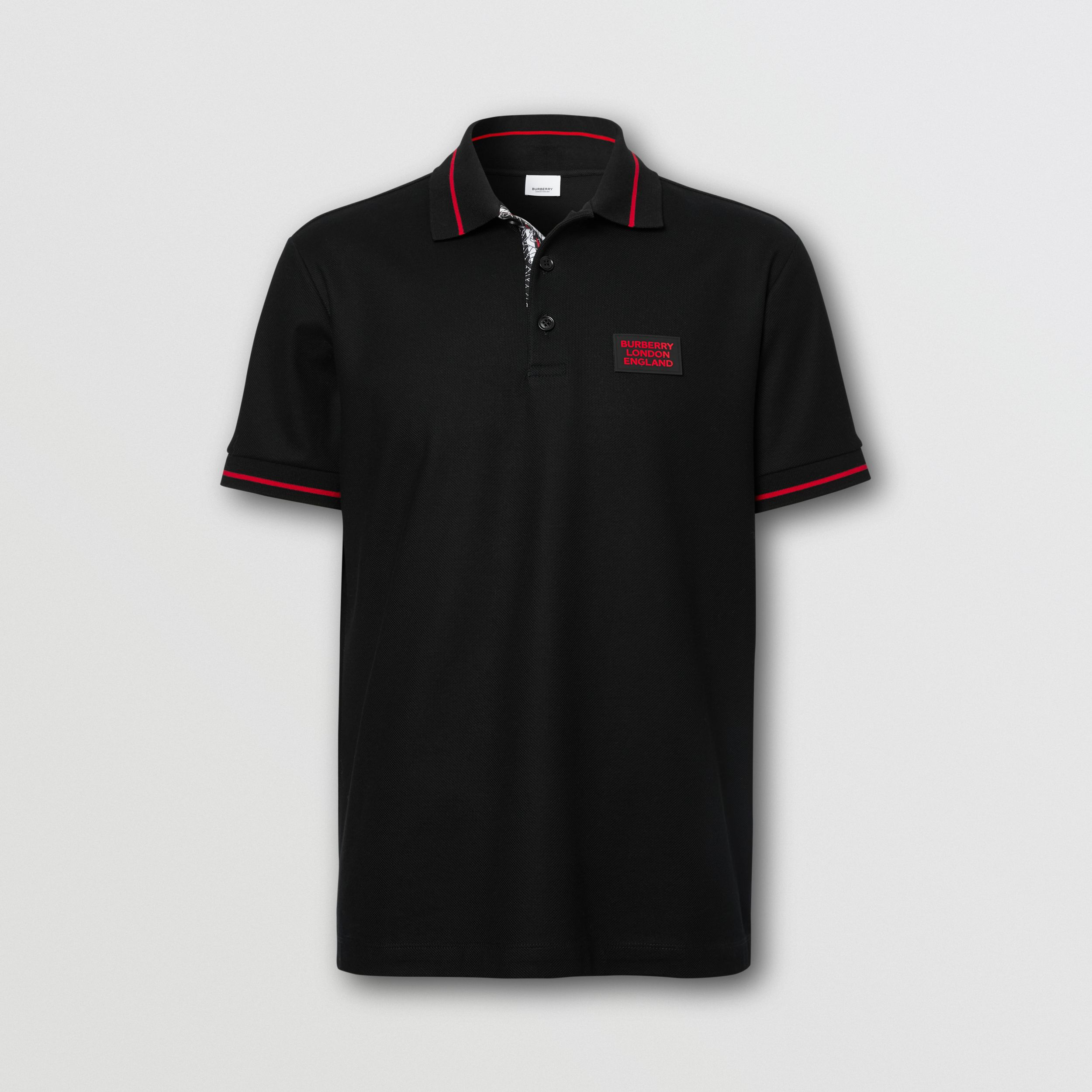 Logo Appliqué Cotton Piqué Polo Shirt in Black - Men | Burberry - 4