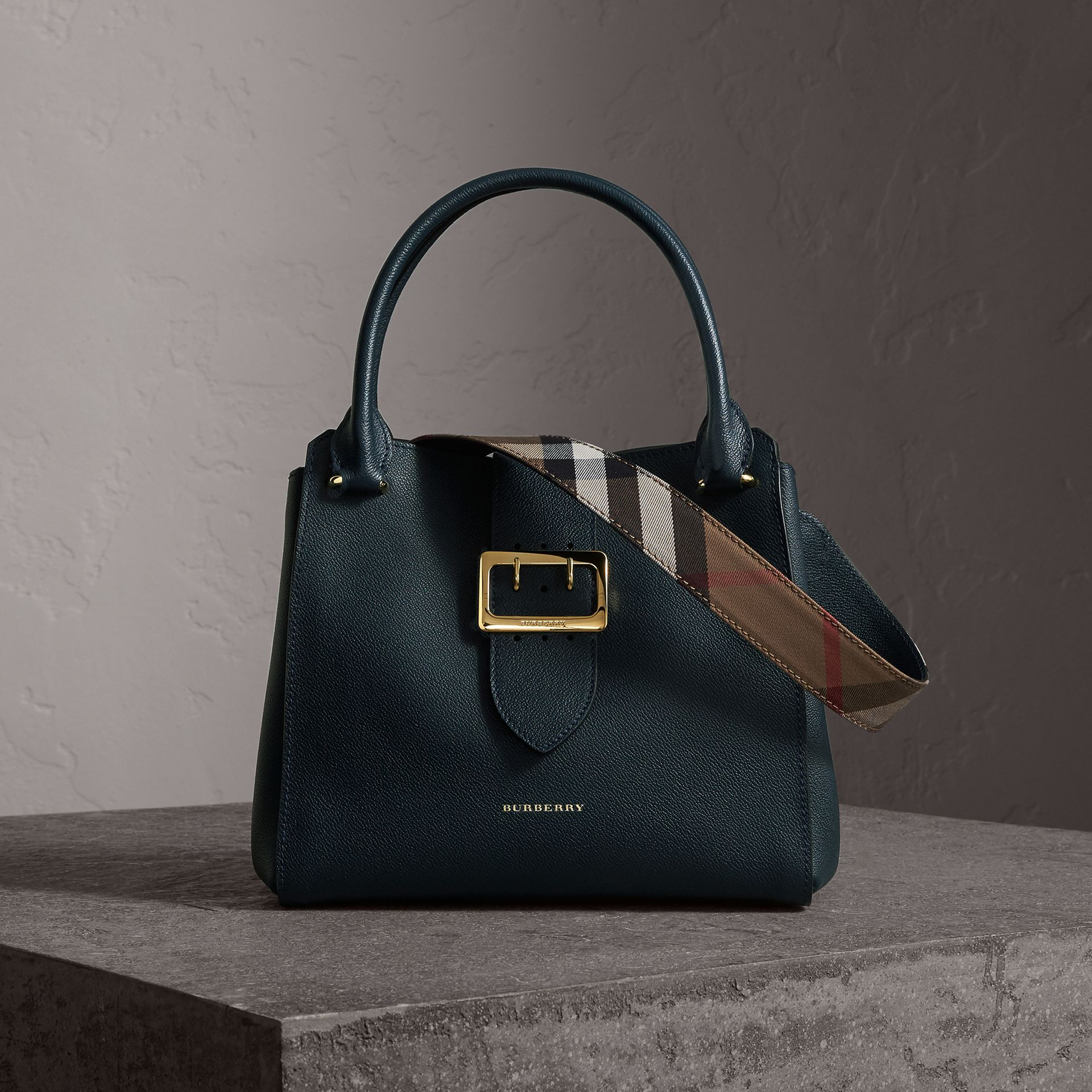 The Medium Buckle Tote in Grainy Leather in Blue Carbon - Women | Burberry United Kingdom - gallery image 0