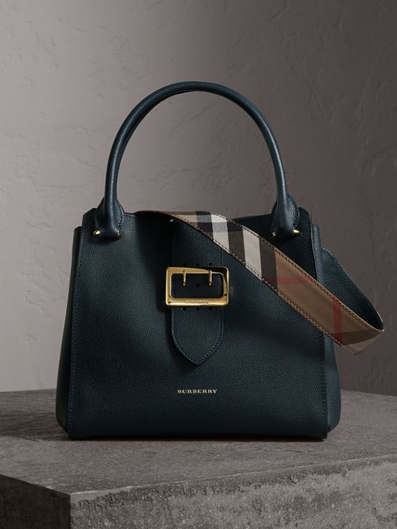 The Medium Buckle Tote in Grainy Leather in Blue Carbon