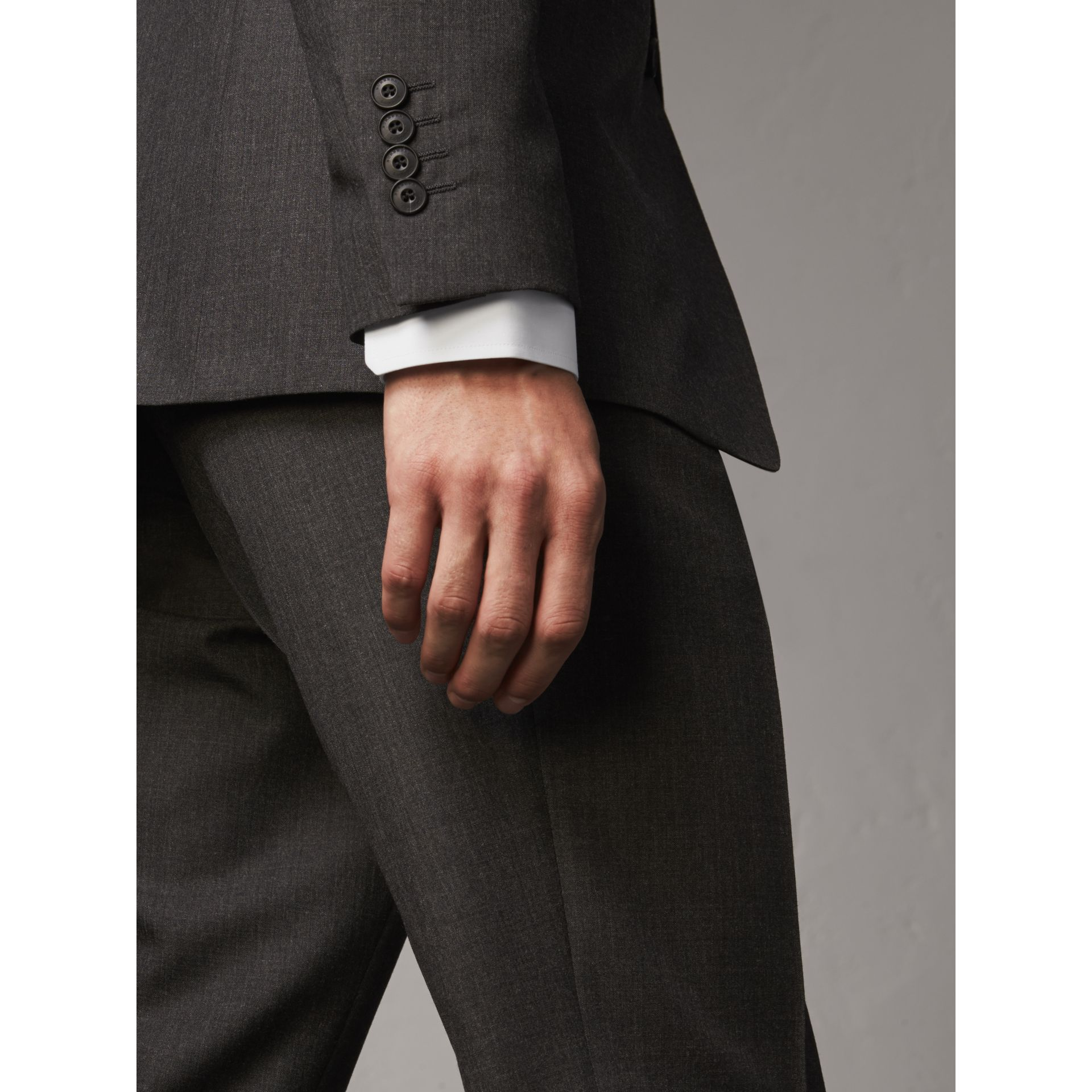 Modern Fit Wool Part-canvas Suit in Charcoal - Men | Burberry United Kingdom - gallery image 6