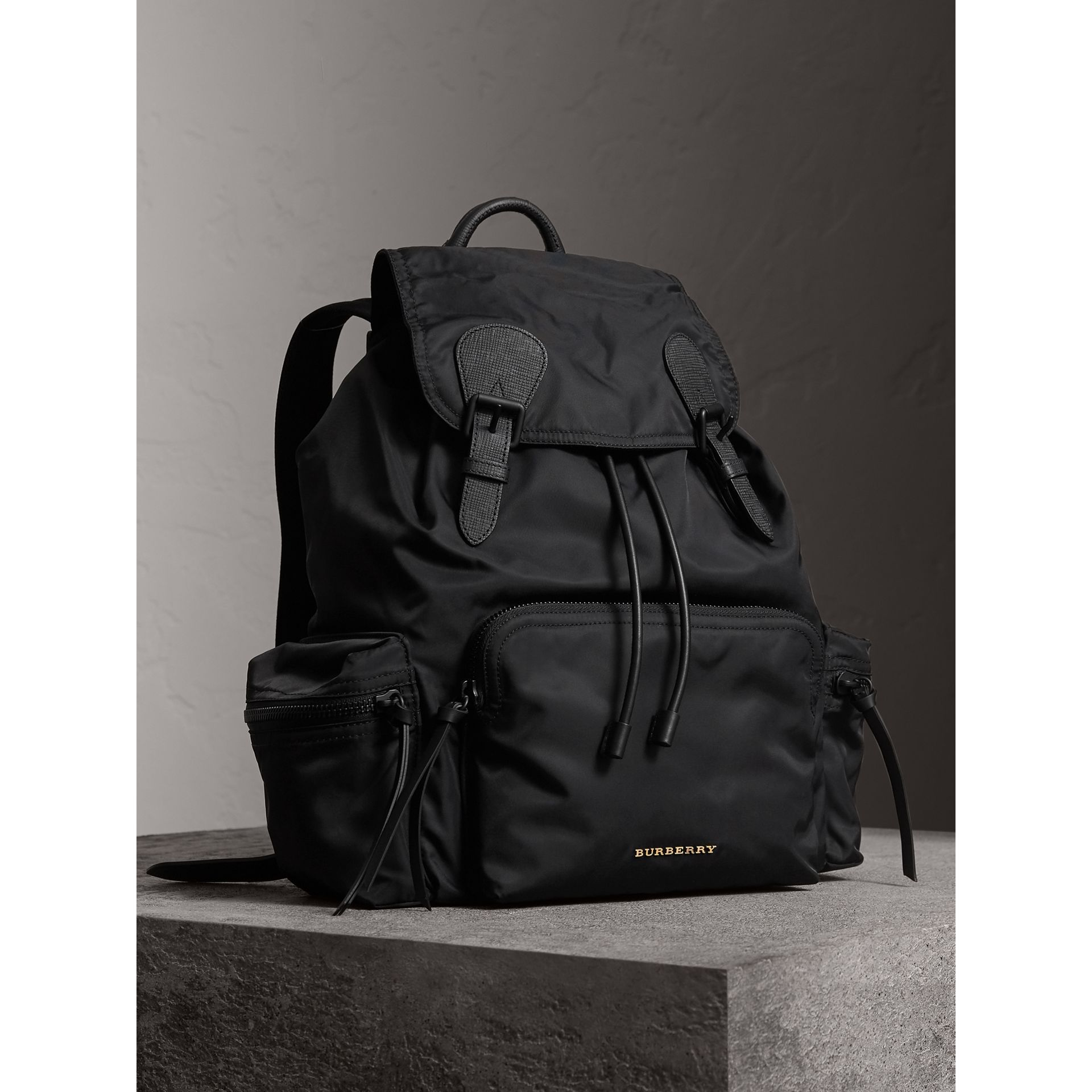 The Large Rucksack in Technical Nylon and Leather in Black - Men | Burberry Australia - gallery image 7
