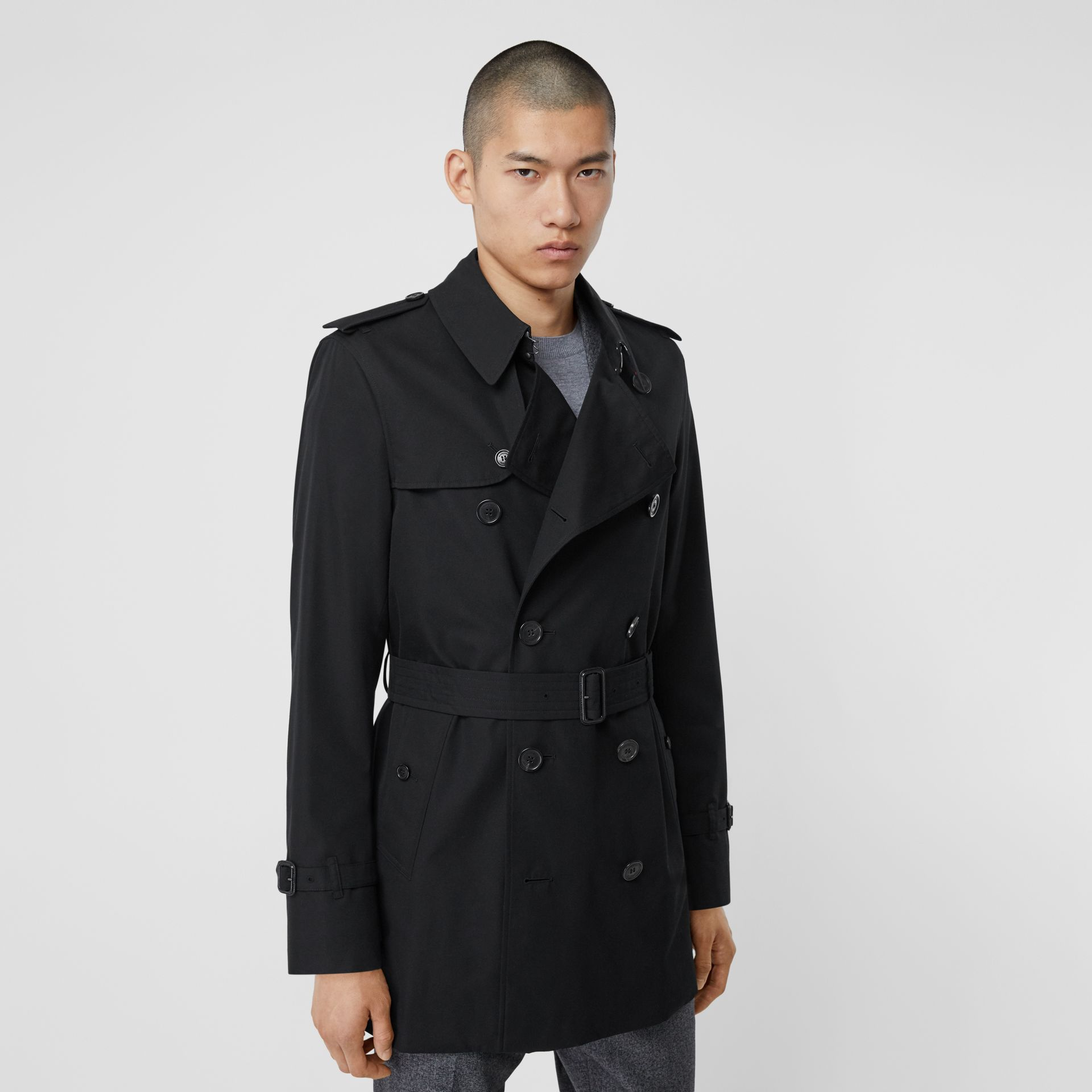 Cotton Gabardine Trench Coat in Black - Men | Burberry - gallery image 5