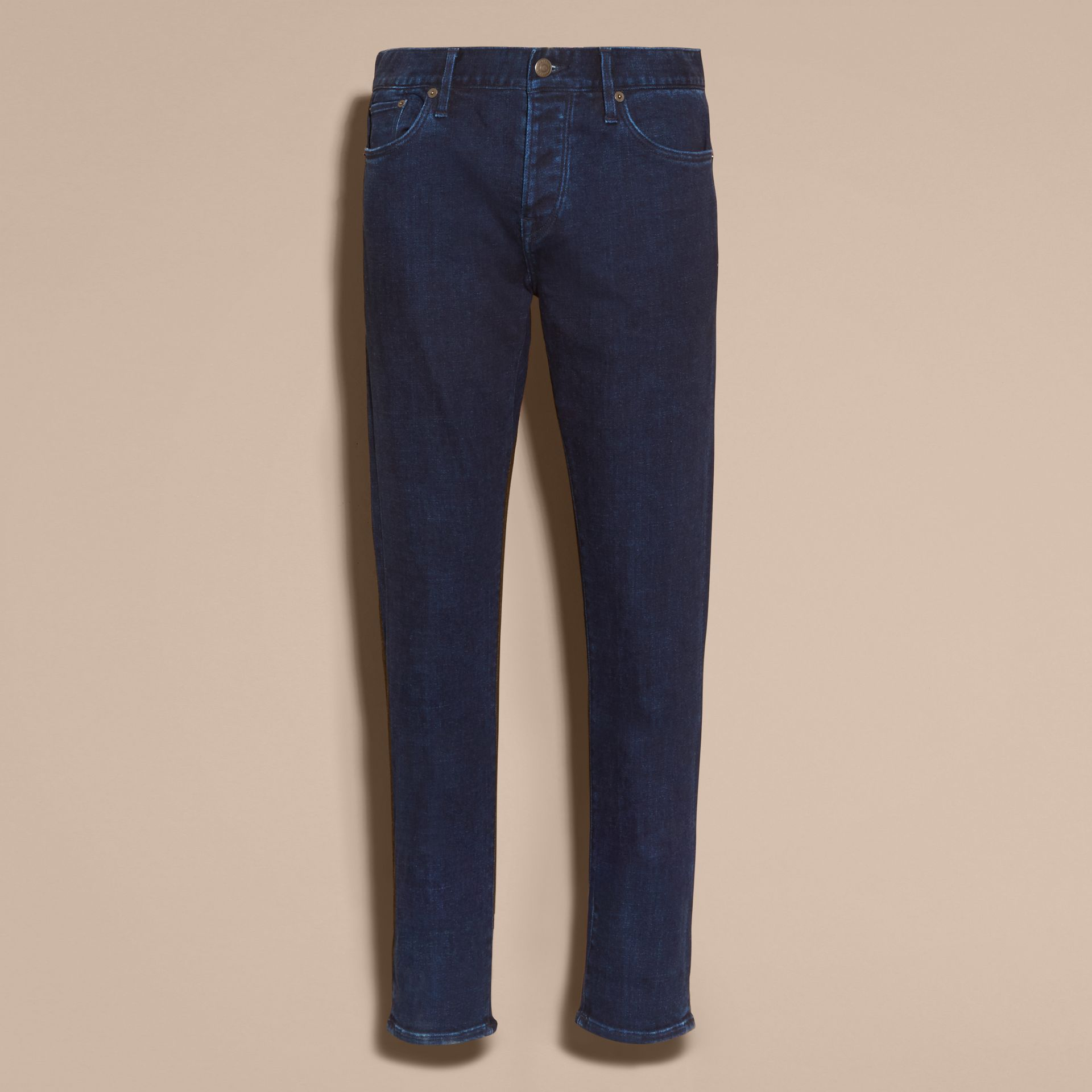 Dark indigo Straight Fit Indigo Stretch Denim Jeans - gallery image 4