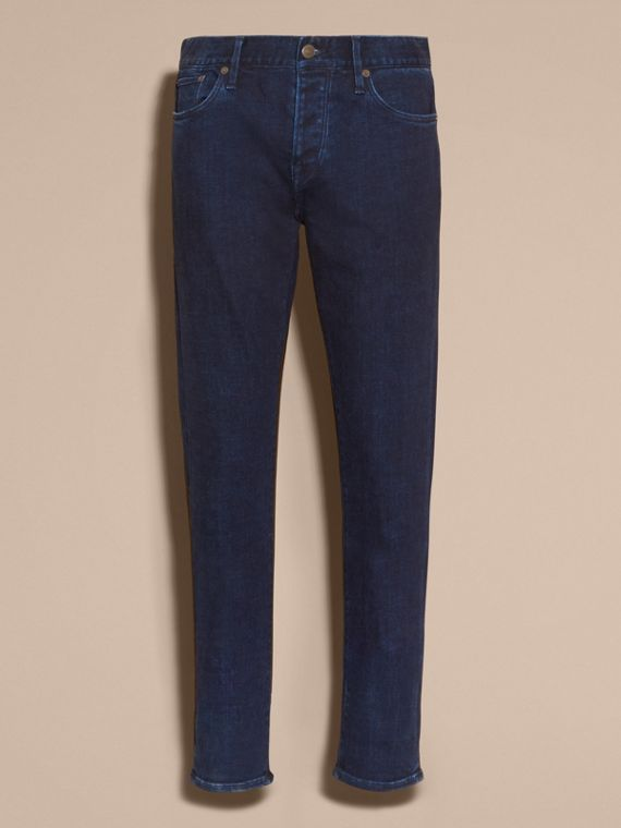 Dark indigo Straight Fit Indigo Stretch Denim Jeans - cell image 3