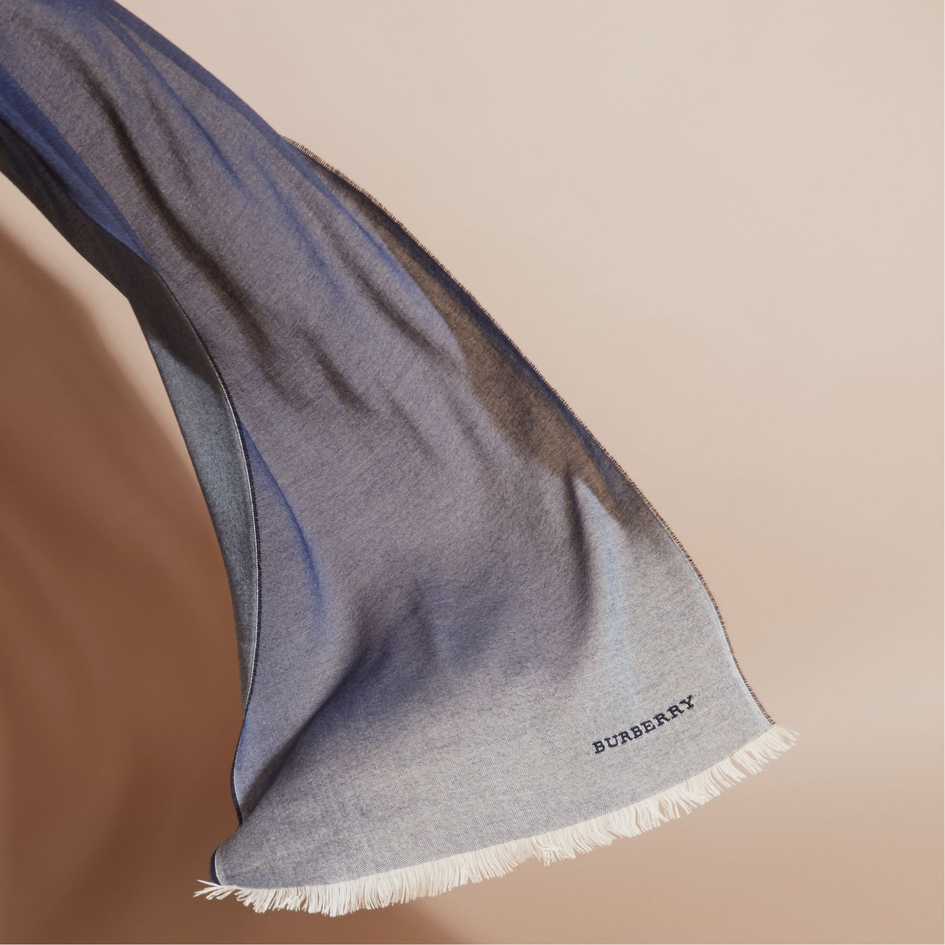 Indigo blue Lightweight Ombré Wool Cashmere Scarf - gallery image 4