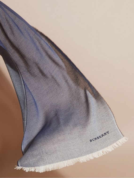 Indigo blue Lightweight Ombré Wool Cashmere Scarf - cell image 3