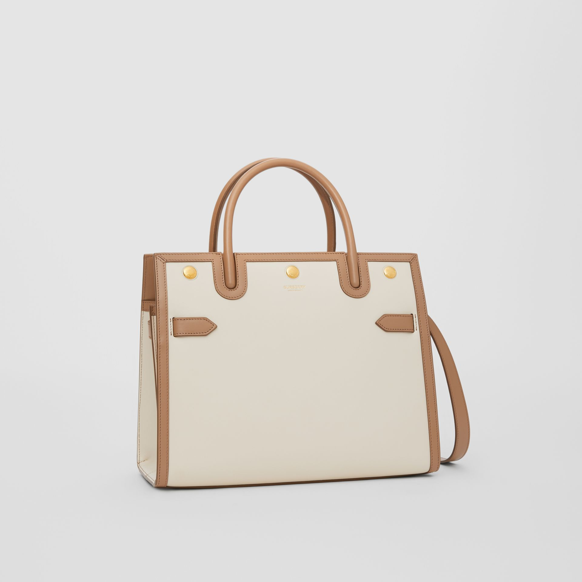 Small Leather Two-handle Title Bag in Buttermilk/camel - Women | Burberry Canada - gallery image 6