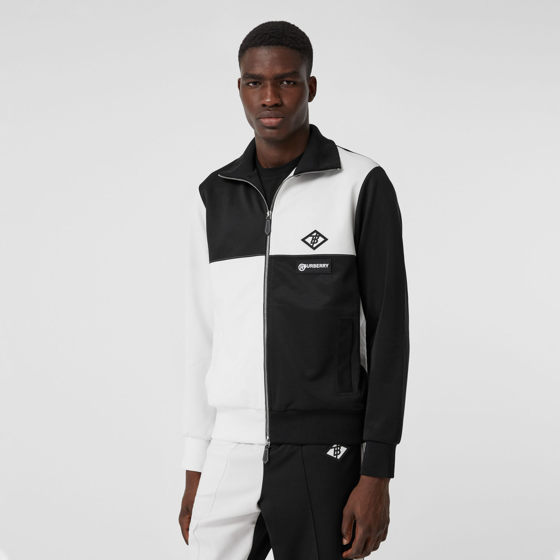Logo Graphic Two-tone Jersey Track Top in Black - Men | Burberry United Kingdom - gallery image 3