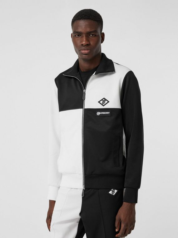 Logo Graphic Two-tone Jersey Track Top in Black