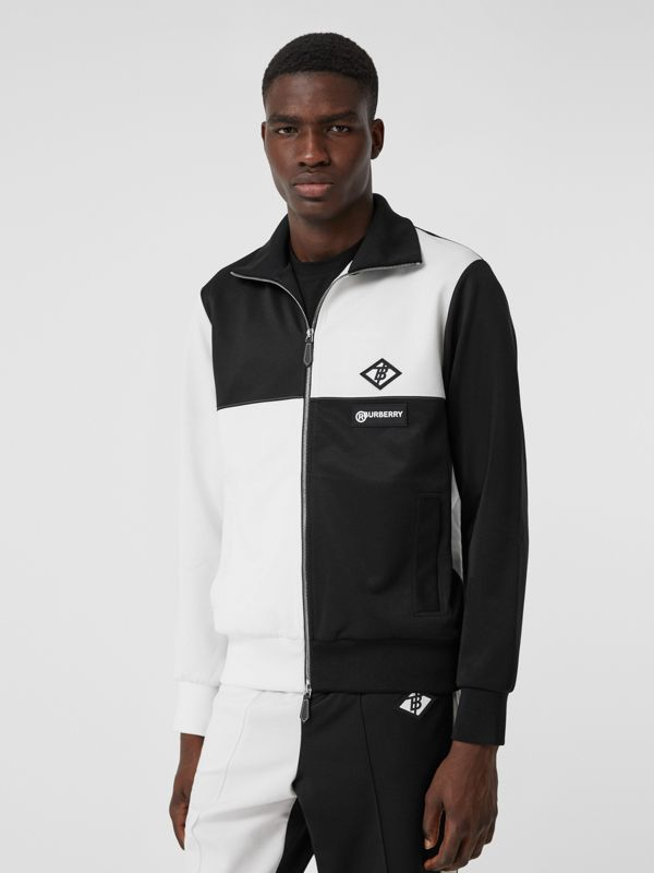 Logo Graphic Two-tone Jersey Track Top in Black - Men | Burberry United Kingdom - cell image 3