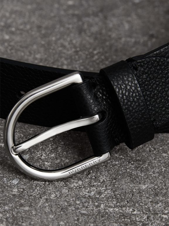 D-shaped Buckle Grainy Leather Belt in Black - Men | Burberry - cell image 1