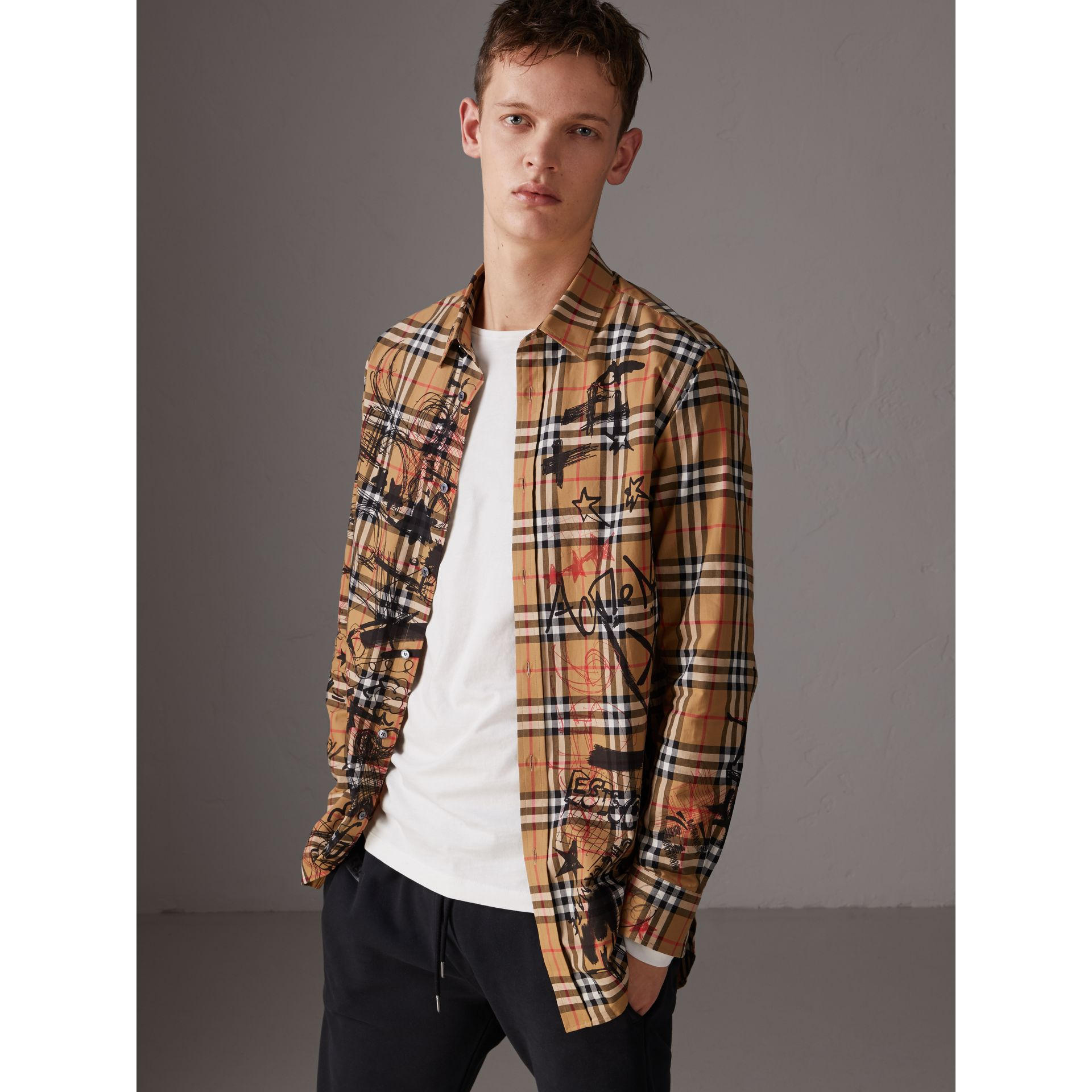 Burberry x Kris Wu Vintage Check Cotton Shirt in Antique Yellow - Men | Burberry United Kingdom - gallery image 5