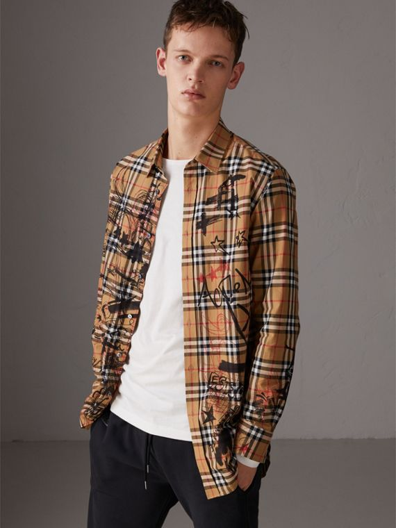 Burberry x Kris Wu Vintage Check Cotton Shirt in Antique Yellow