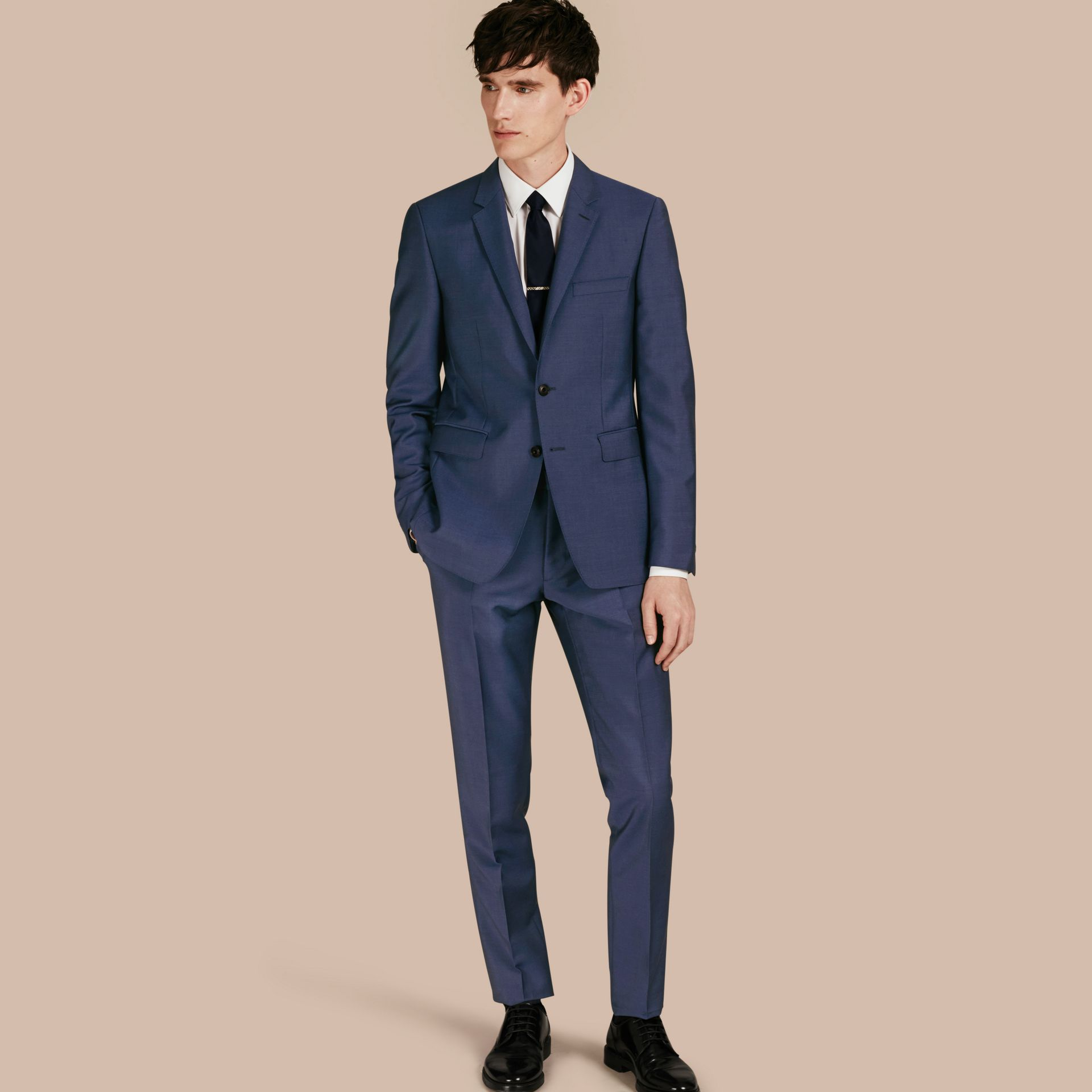 Dark canvas blue Slim Fit Wool Mohair Part-canvas Jacket - gallery image 1