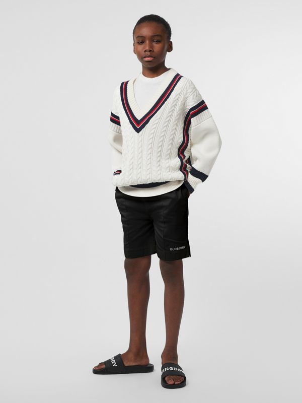 Stripe Detail Cotton and Merino Wool Sweater in White | Burberry - cell image 2