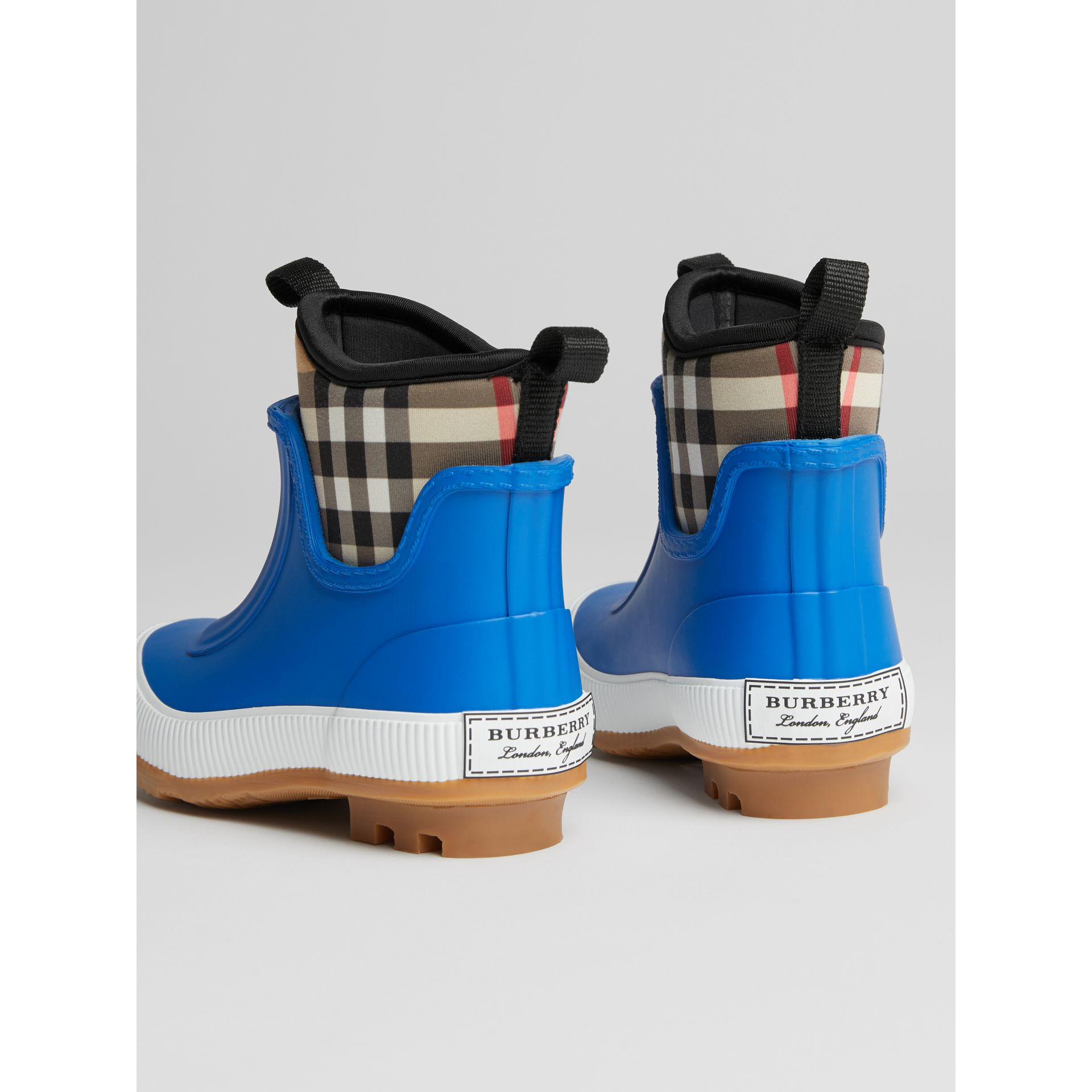 Vintage Check Neoprene and Rubber Rain Boots in Bright Canvas Blue | Burberry - gallery image 2