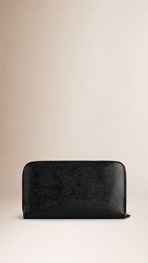 Black Patent London Leather Ziparound Wallet - Image 2