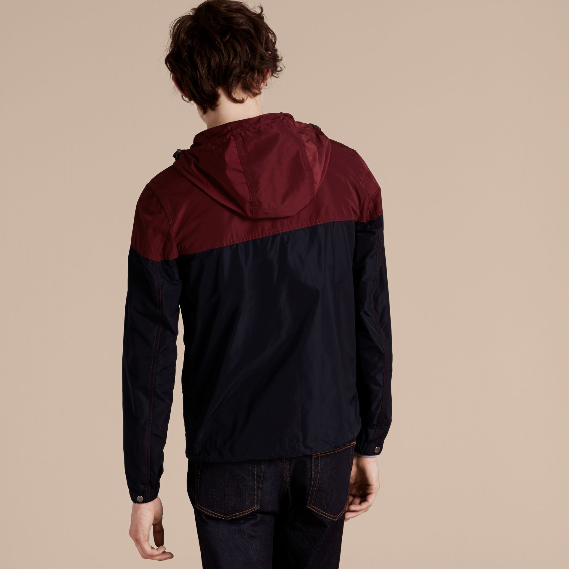 Dark crimson Colour Block Technical Jacket with Hood - gallery image 3