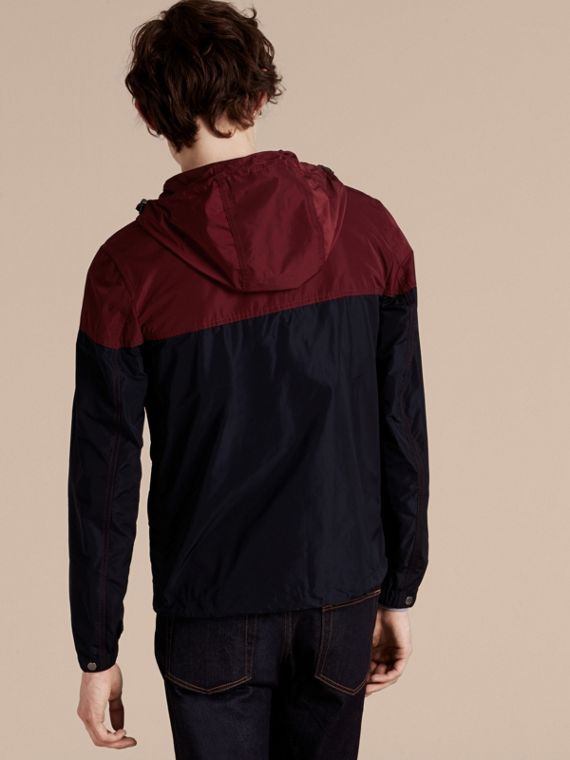 Dark crimson Colour Block Technical Jacket with Hood - cell image 2