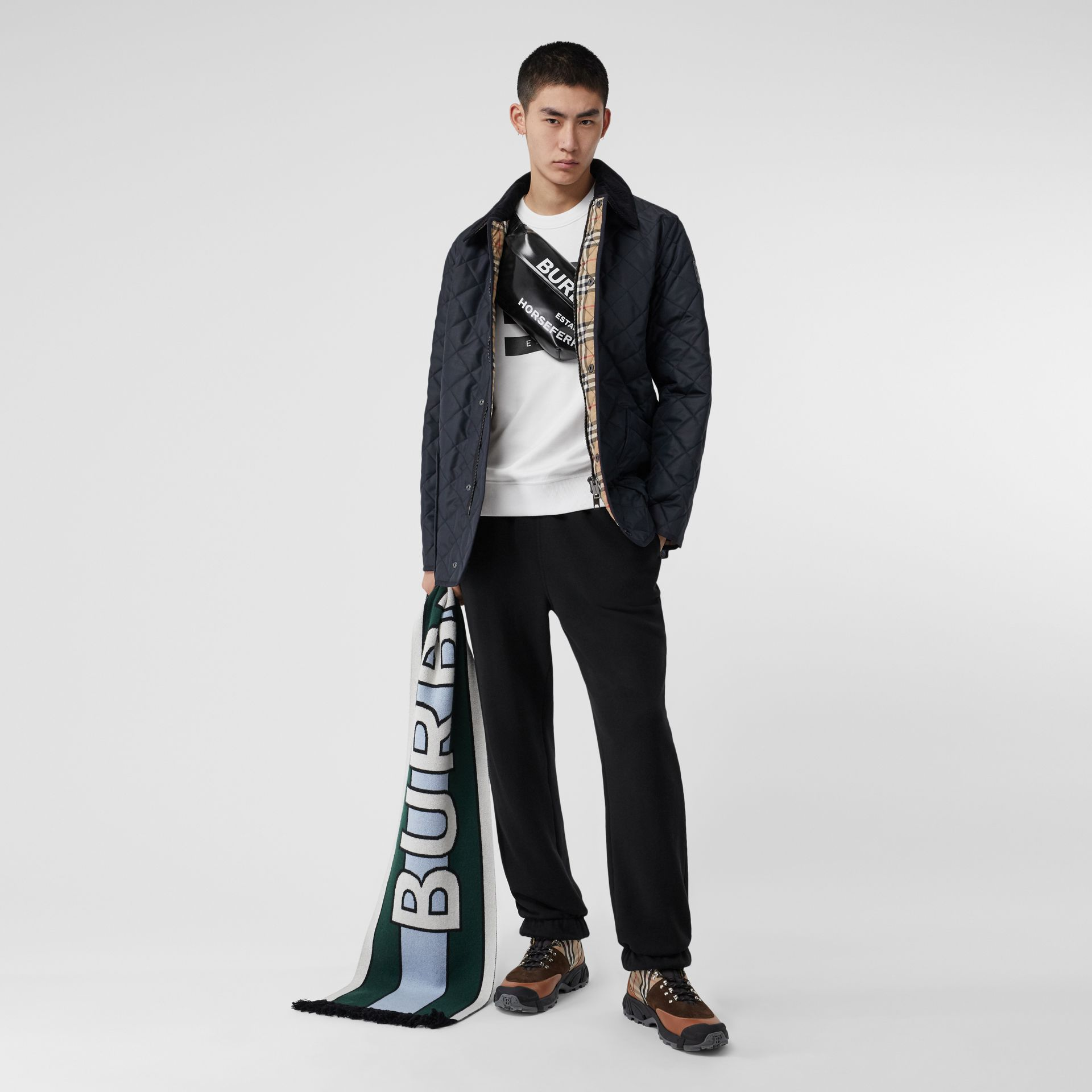 Diamond Quilted Thermoregulated Barn Jacket in Navy - Men | Burberry - gallery image 0