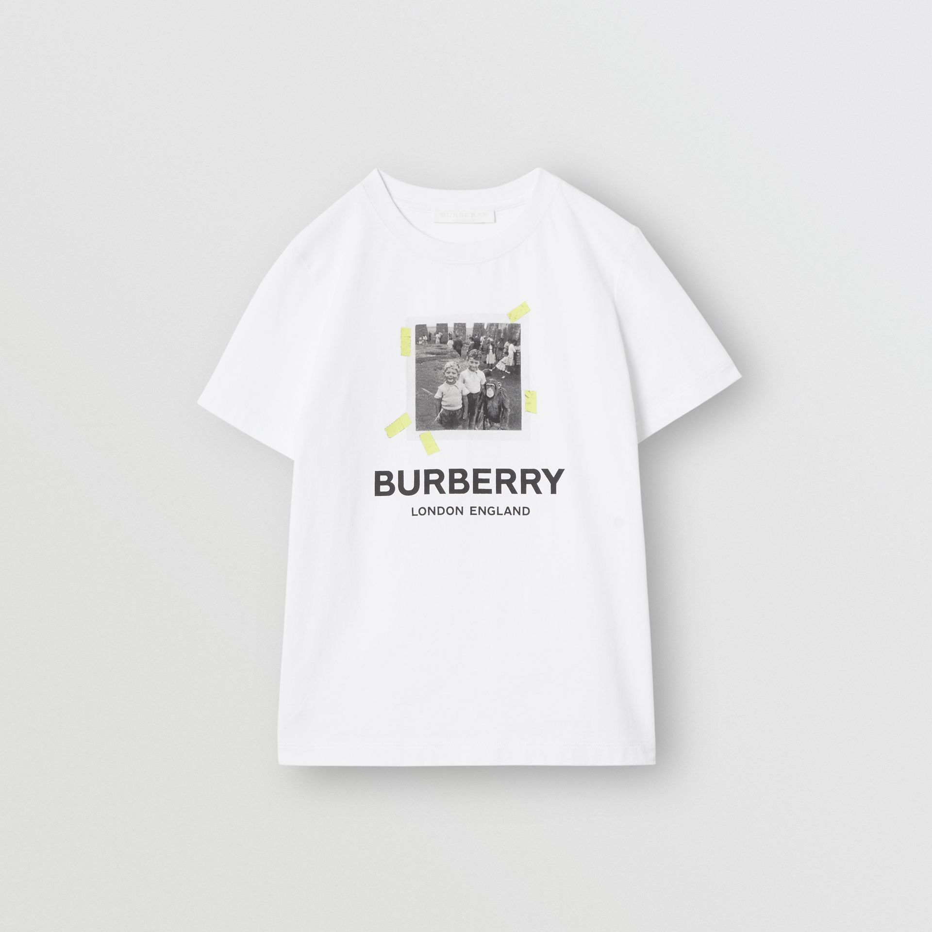 Vintage Photo Print Cotton T-Shirt in White - Children | Burberry - gallery image 0