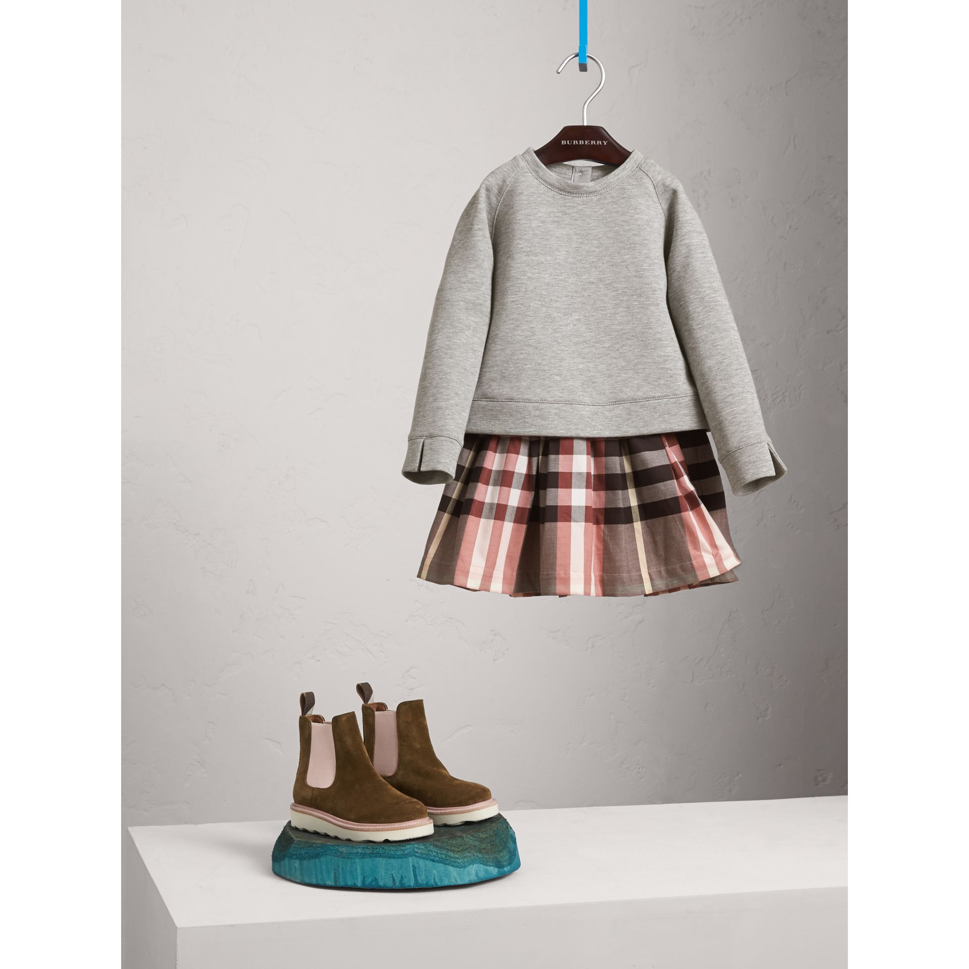 Contrast Check Sweater Dress in Dusty Pink - Girl | Burberry - gallery image 1