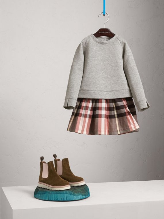 Contrast Check Sweater Dress - Girl | Burberry Australia