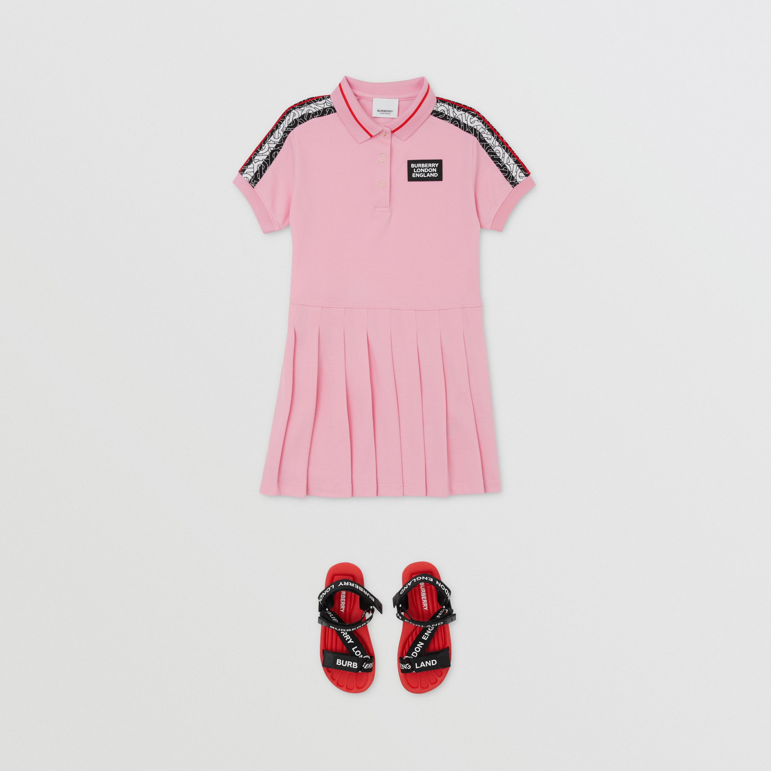 Monogram Stripe Print Cotton Piqué Polo Shirt Dress in Candy Pink | Burberry - 3