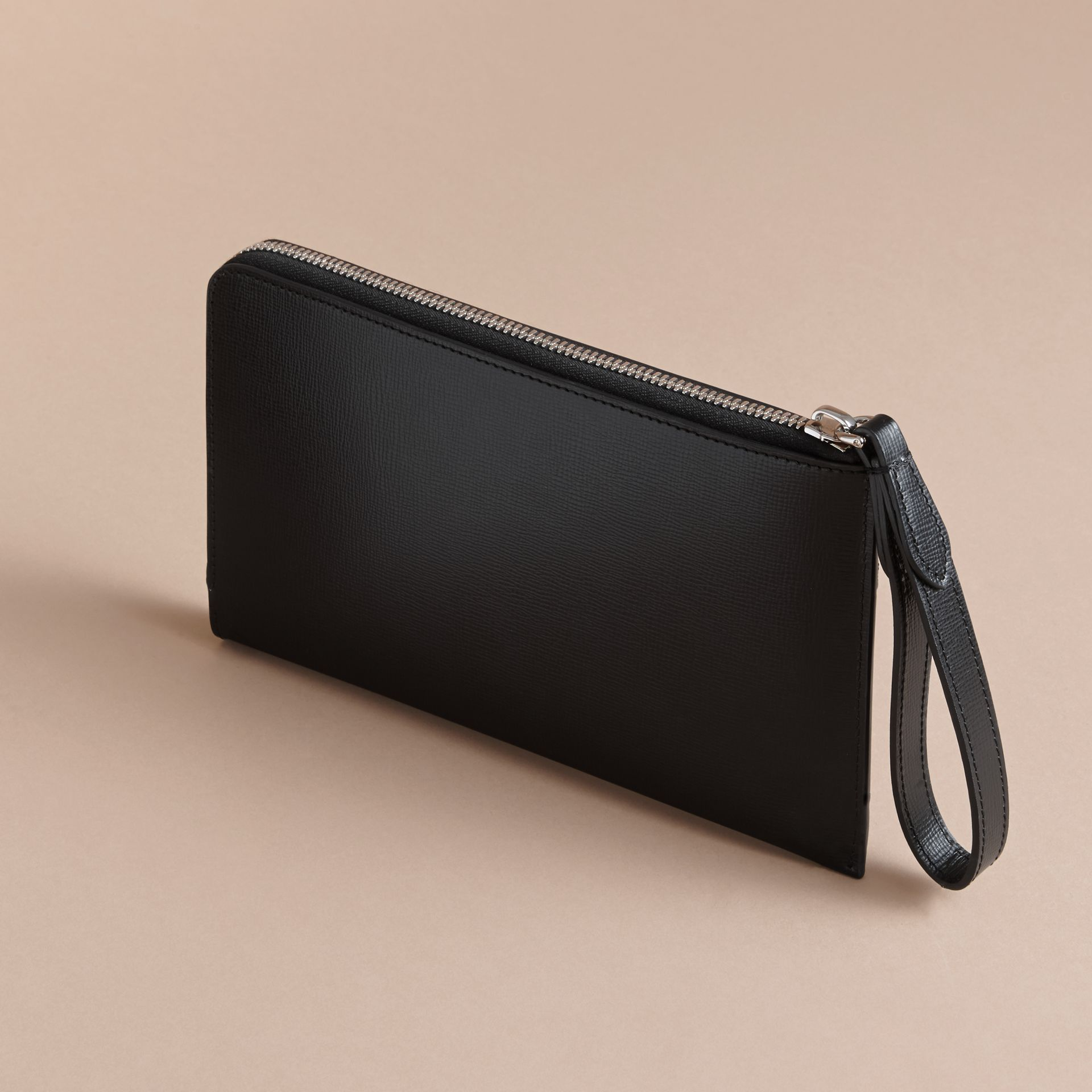 London Leather Travel Wallet in Black | Burberry Australia - gallery image 3