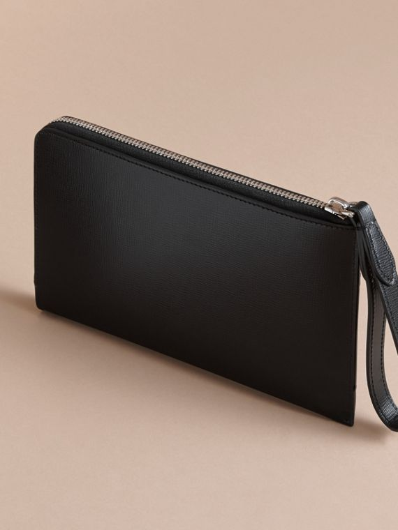 London Leather Travel Wallet in Black | Burberry Australia - cell image 2