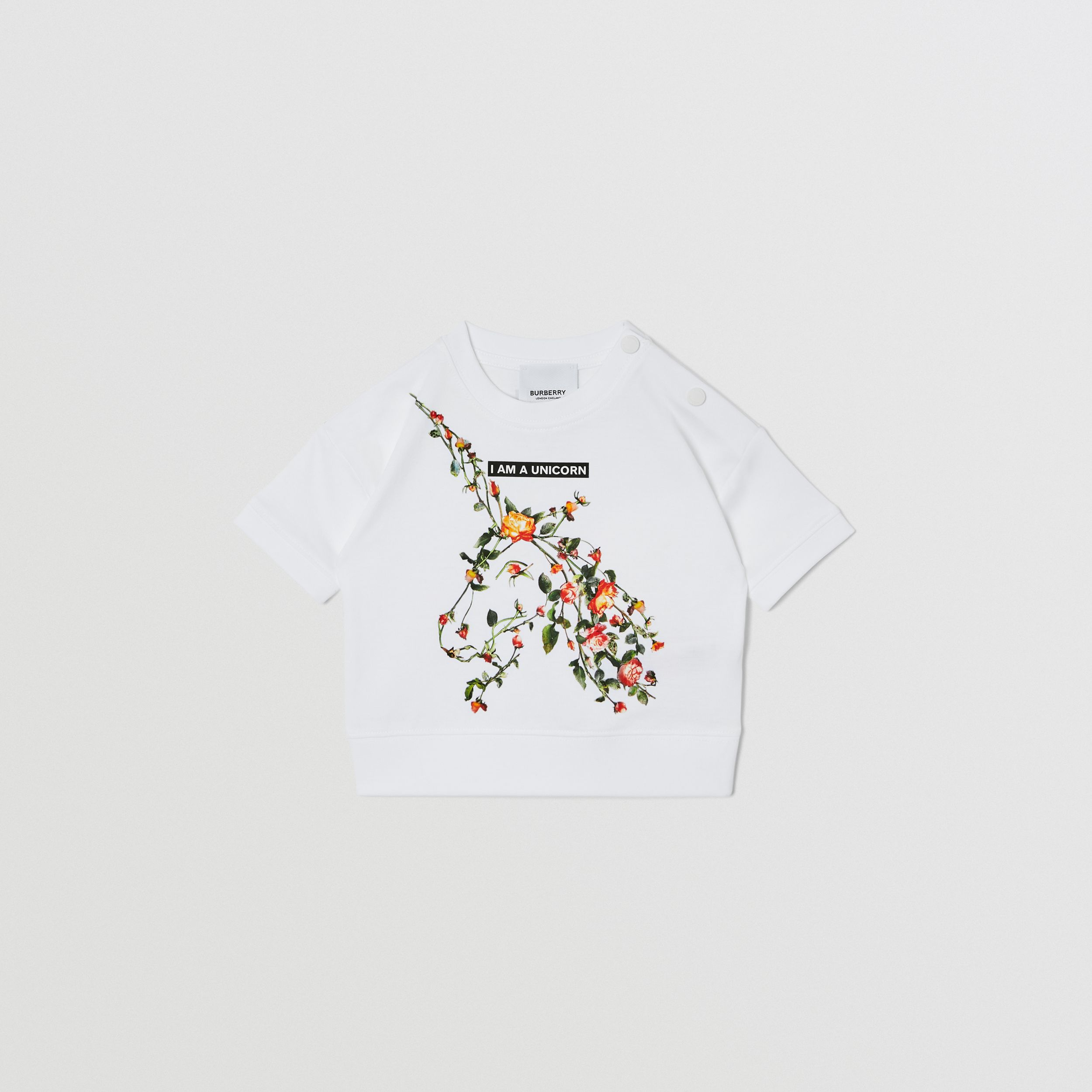 Montage Print Cotton T-shirt in White - Children | Burberry United Kingdom - 1