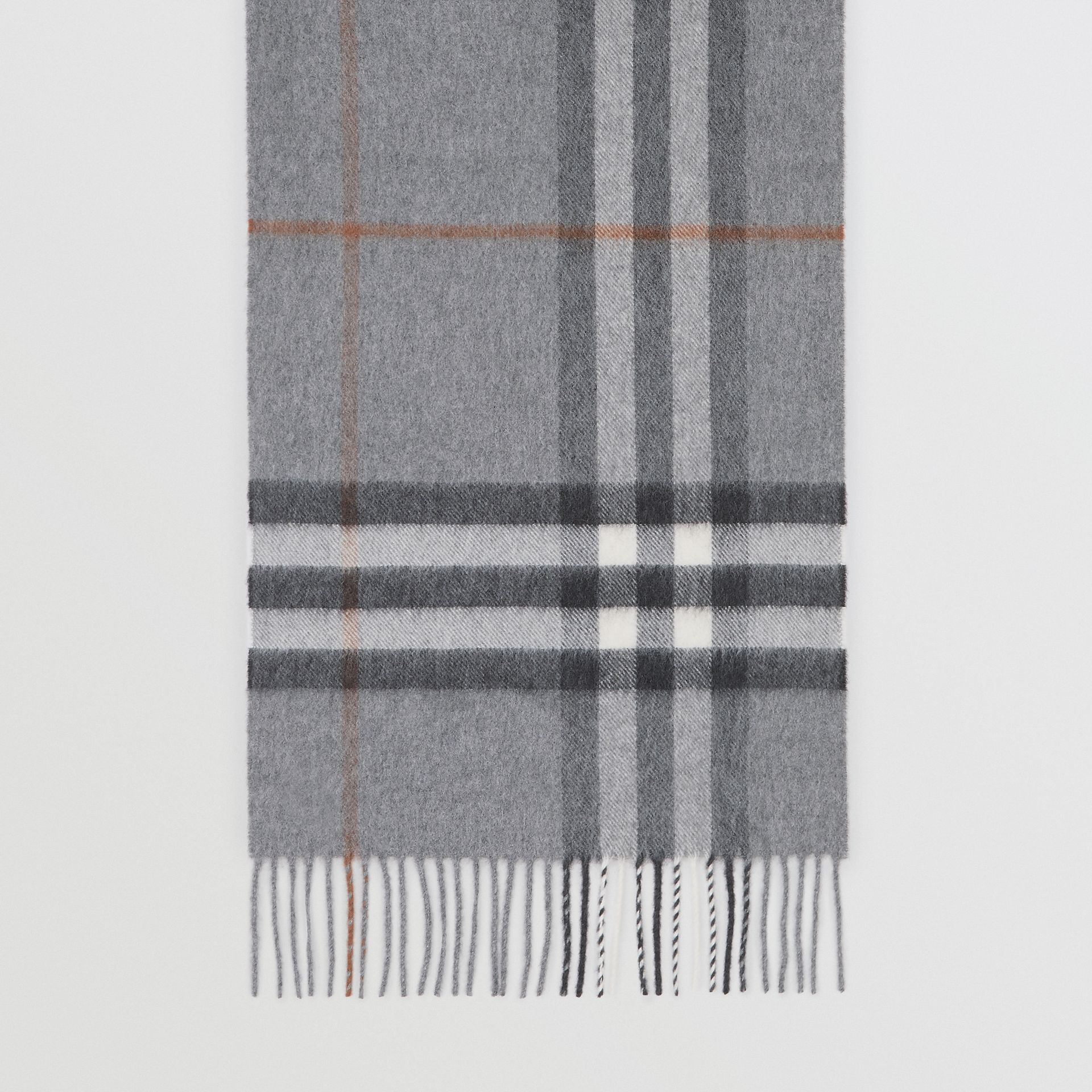 The Classic Check Cashmere Scarf in Grey | Burberry United Kingdom - gallery image 4