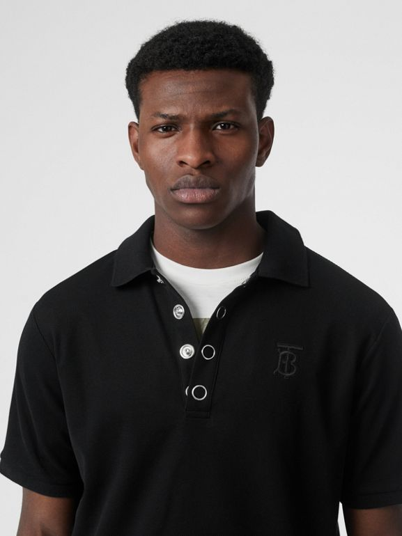 Monogram Motif Cotton Piqué Polo Shirt in Black | Burberry United States - cell image 1