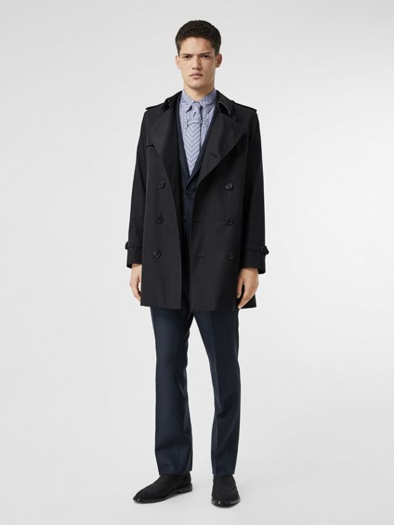 Cotton Gabardine Trench Coat in Midnight Navy