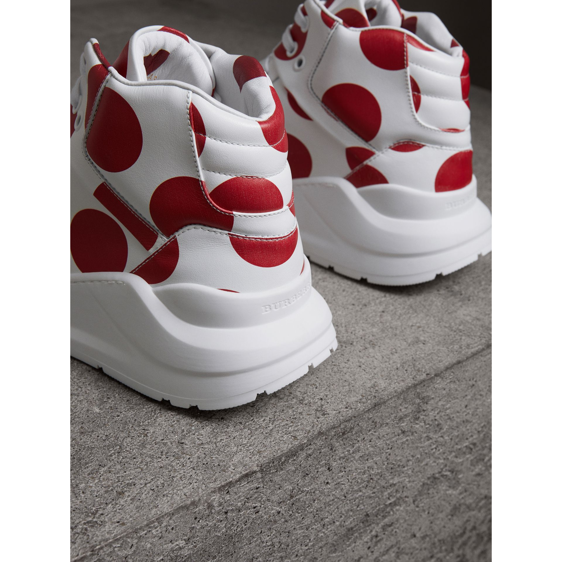 Spot Print Leather High-top Sneakers in Windsor Red/optic White - Women | Burberry - gallery image 3