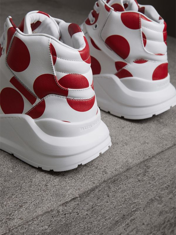 Spot Print Leather High-top Sneakers in Windsor Red/optic White - Women | Burberry - cell image 3