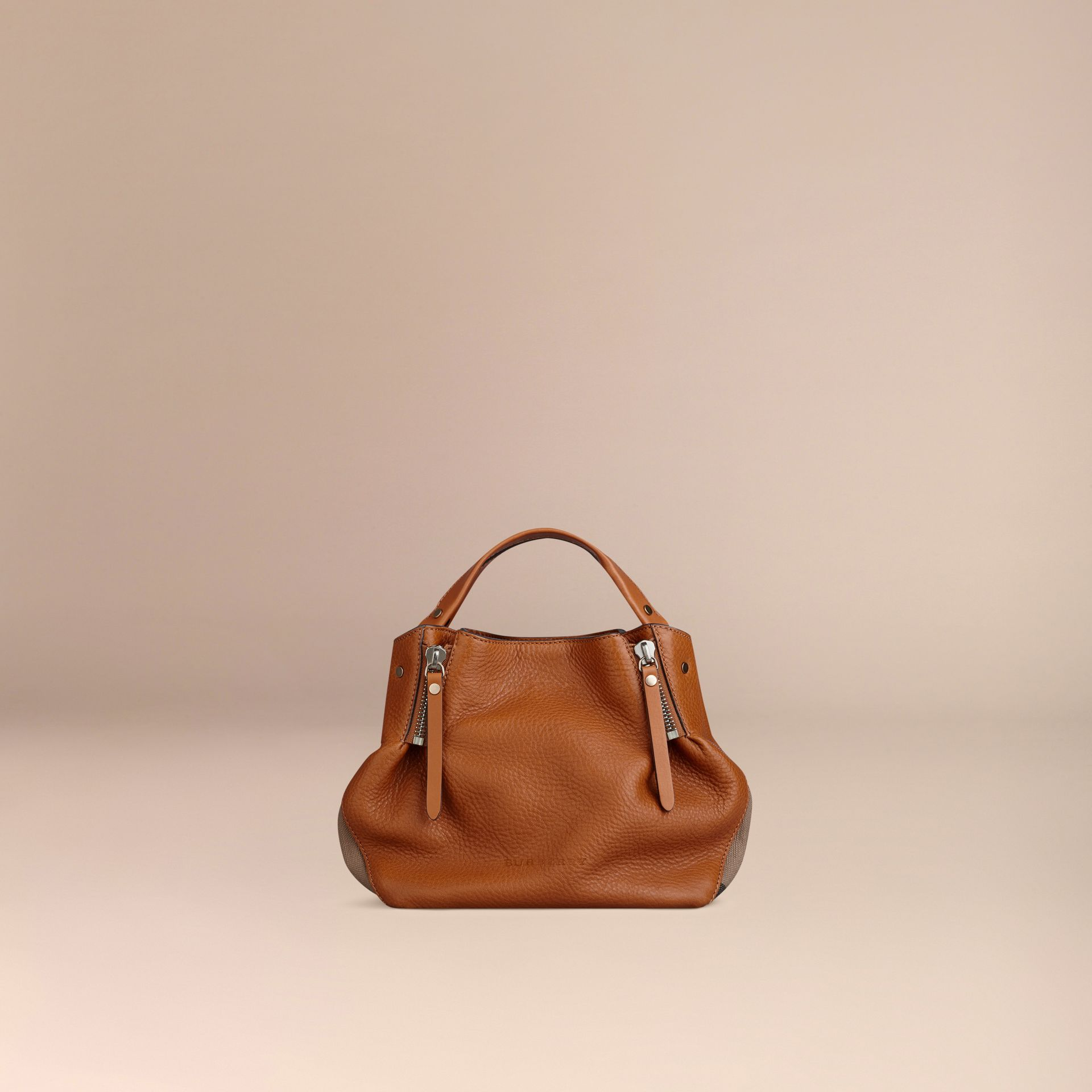 Saddle brown Small Check Detail Leather Tote Bag Saddle Brown - gallery image 8