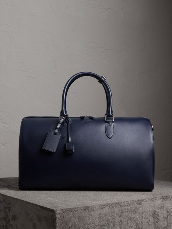 London Leather Holdall in Dark Navy