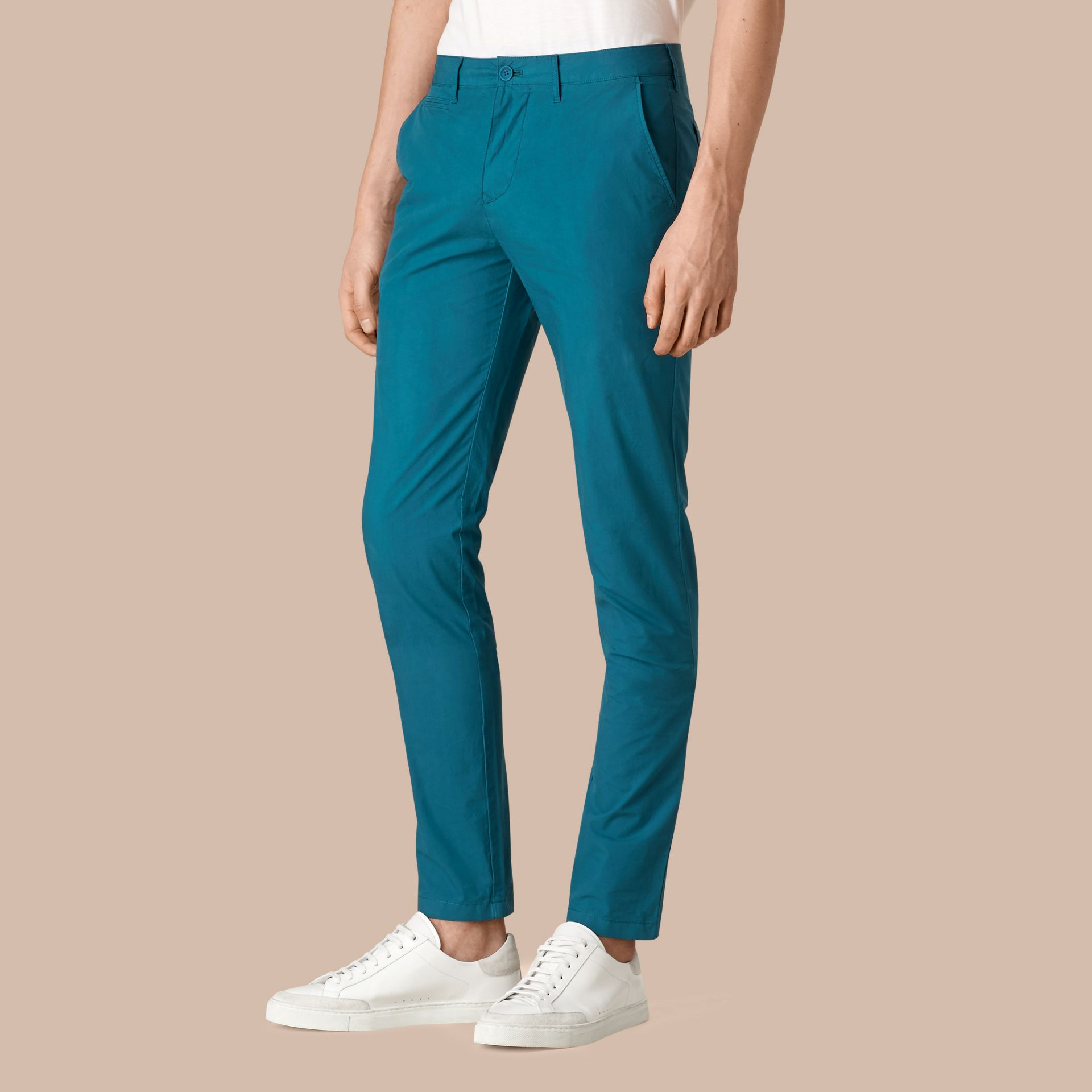 Mineral blue Slim Fit Cotton Poplin Chinos - gallery image 1