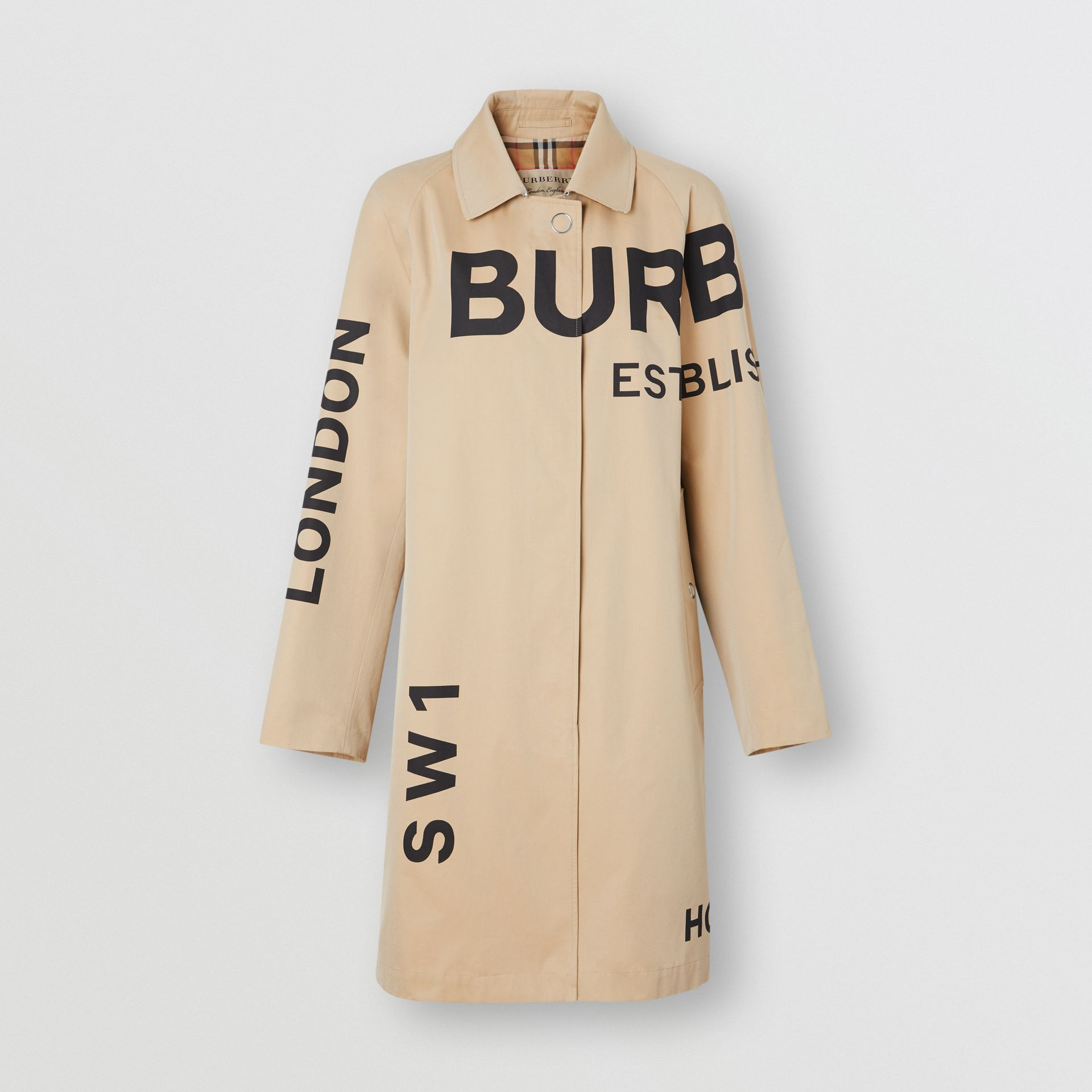 Car coat in gabardine di cotone con stampa Horseferry (Miele) - Donna | Burberry - immagine della galleria 3