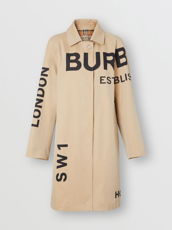 Car coat in gabardine di cotone con stampa Horseferry (Miele) - Donna | Burberry - cell image 3