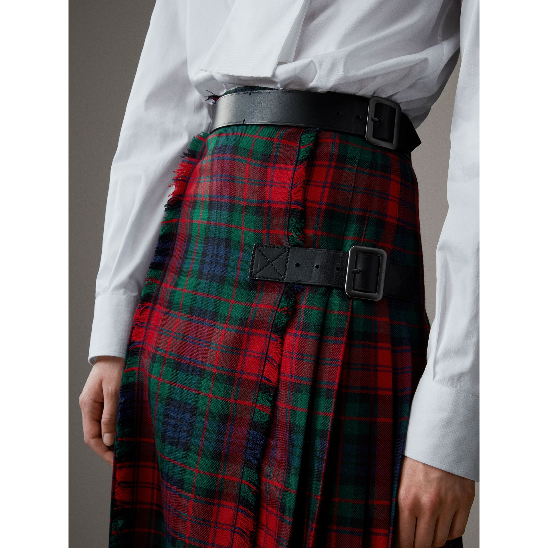 Tartan Wool High-waisted Kilt in Bright Red - Women | Burberry - gallery image 1