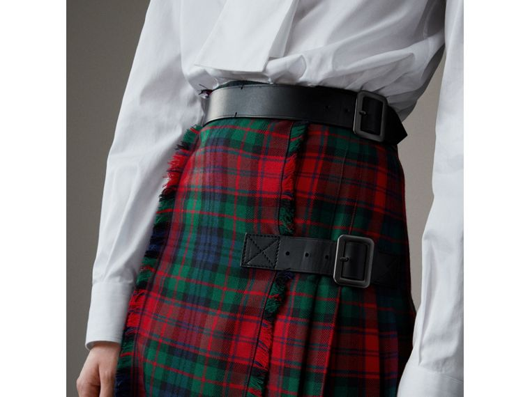 Tartan Wool High-waisted Kilt in Bright Red - Women | Burberry Singapore - cell image 1