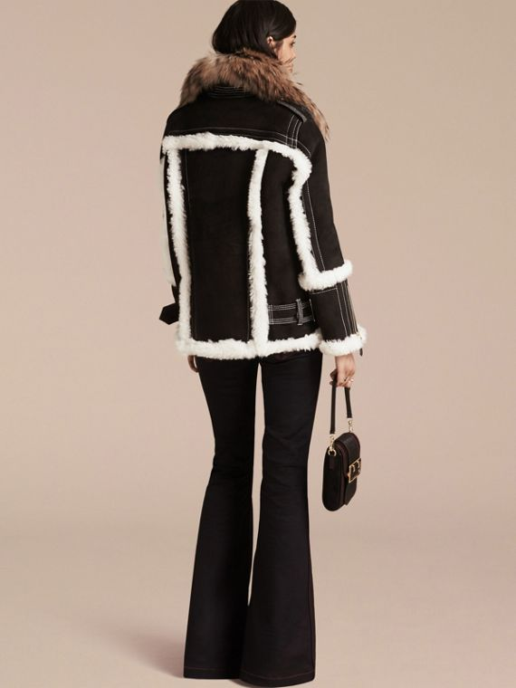 Black Suede and Shearling Aviator Jacket with Raccoon Fur Collar - cell image 2