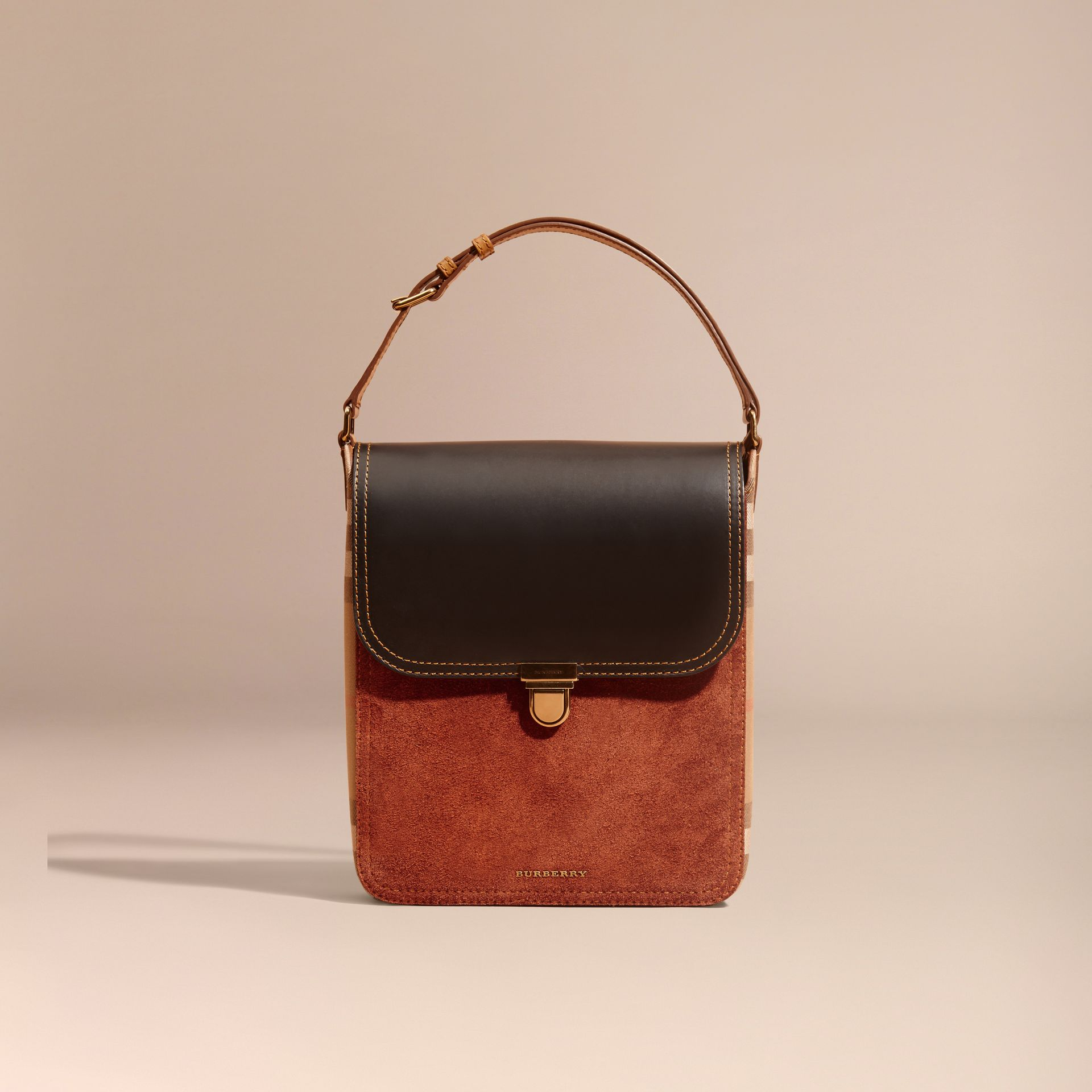 Black The Medium Satchel in Leather and House Check - gallery image 9