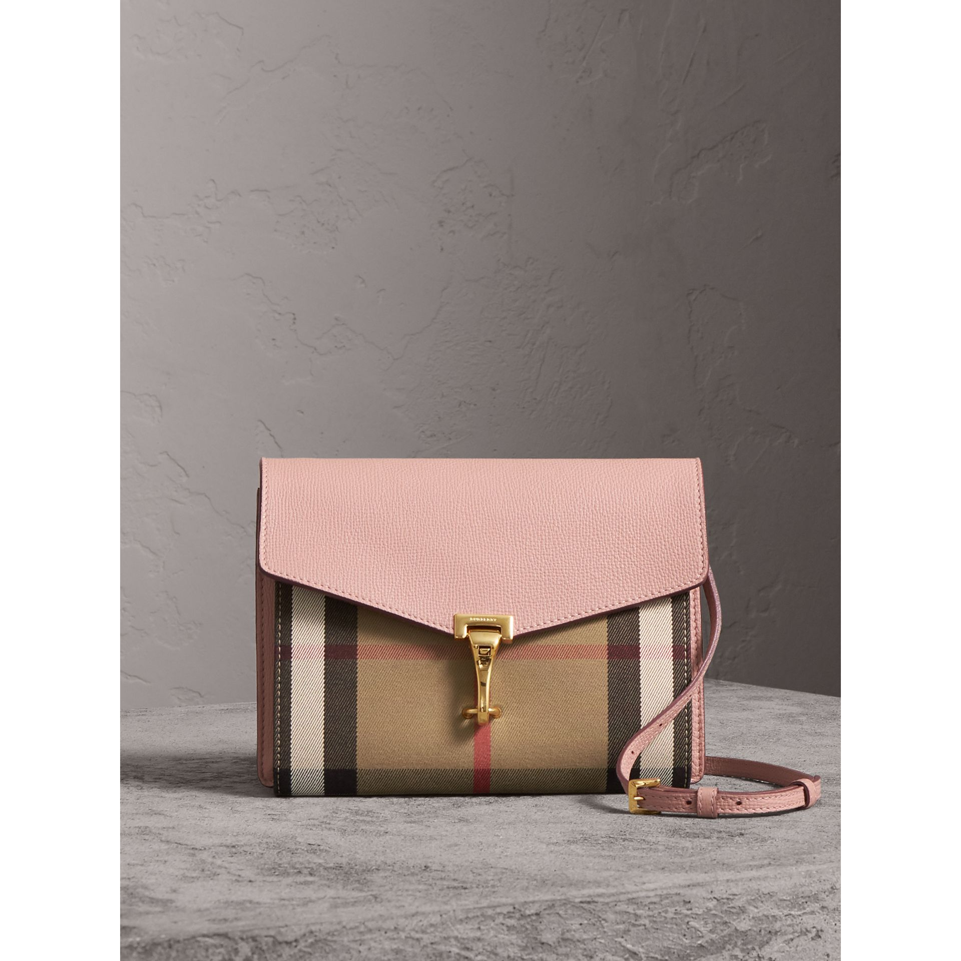 Small Leather and House Check Crossbody Bag in Pale Orchid - Women | Burberry Singapore - gallery image 0
