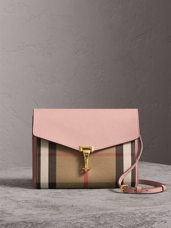 Kleine Crossbody-Tasche aus Leder und House Check-Gewebe (Helles Orchideenfarben)