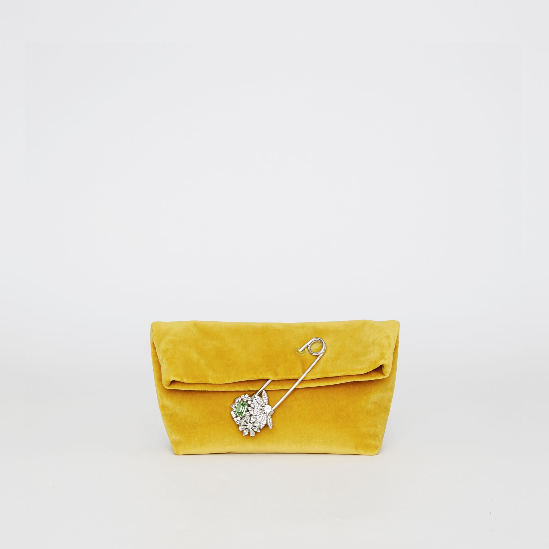 The Small Pin Clutch in Velvet in Larch Yellow - Women | Burberry - gallery image 0