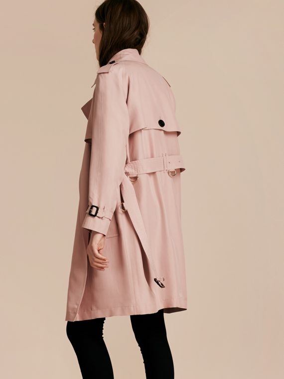 Chalk pink Lightweight Slub Silk Wrap Trench Coat - cell image 2