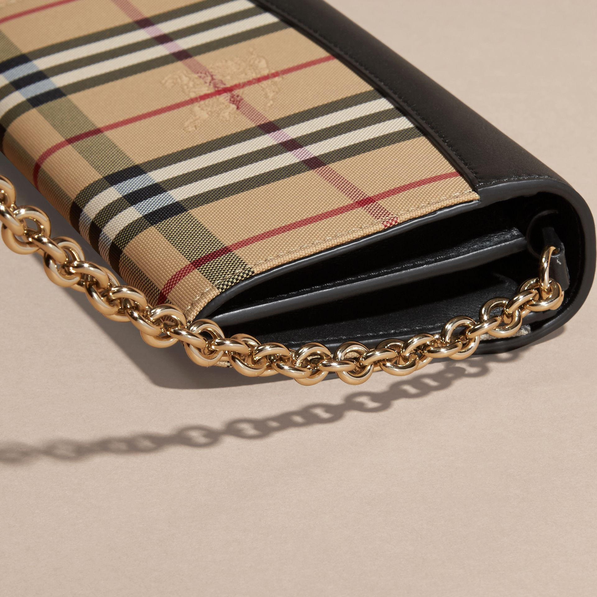 Horseferry Check and Leather Wallet with Chain in Black - Women | Burberry - gallery image 2